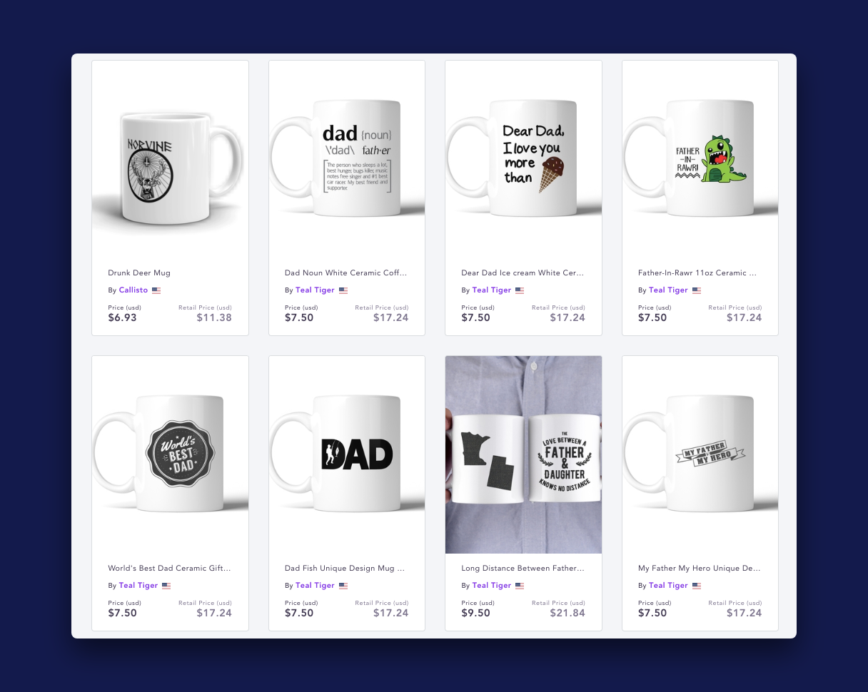 Search page of the shopify app Spocket showing results for mugs