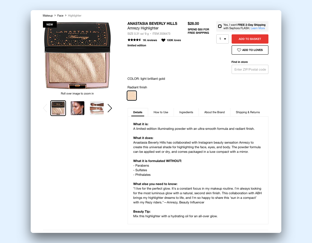 Sephora product description for the Antastasia Beverly Hills collab product Amrezy Highlighter