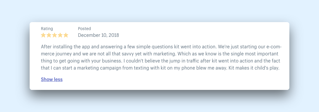Shopify review for the digital marketing app Kit