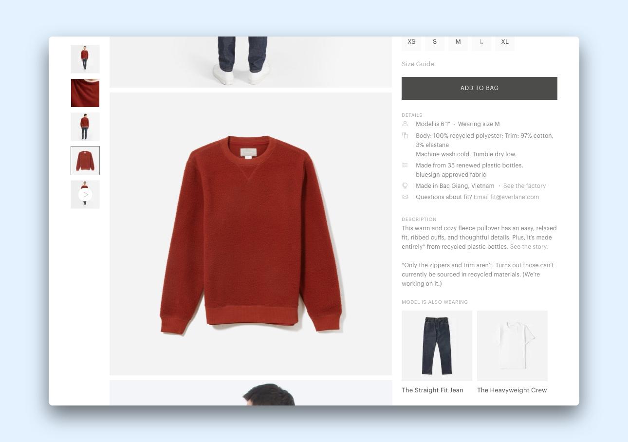 Product page for Everlane's ReNew Fleece Sweatshirt