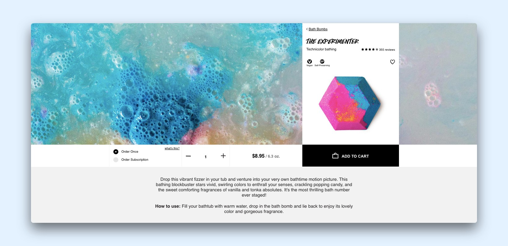 Product details for The Experimenter bath bomb by Lush