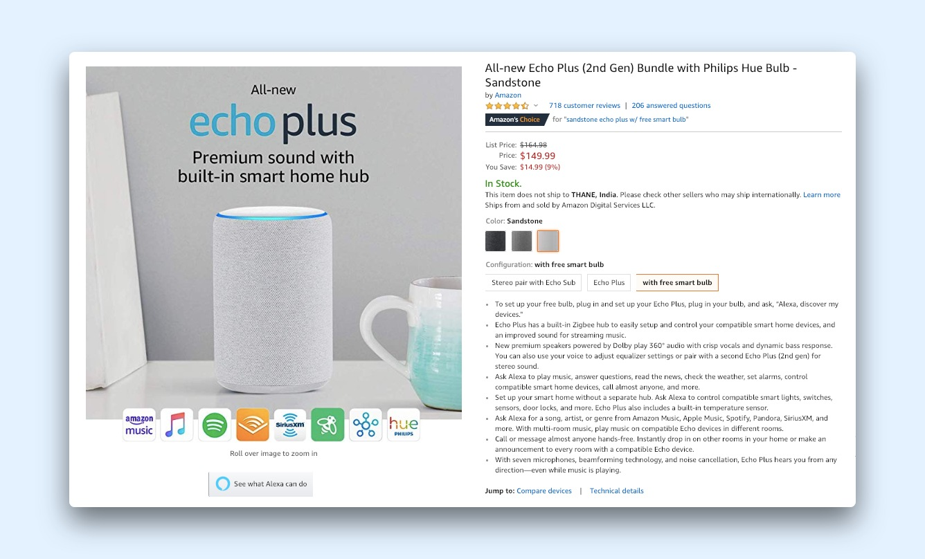 Amazon product page for the echo-plus