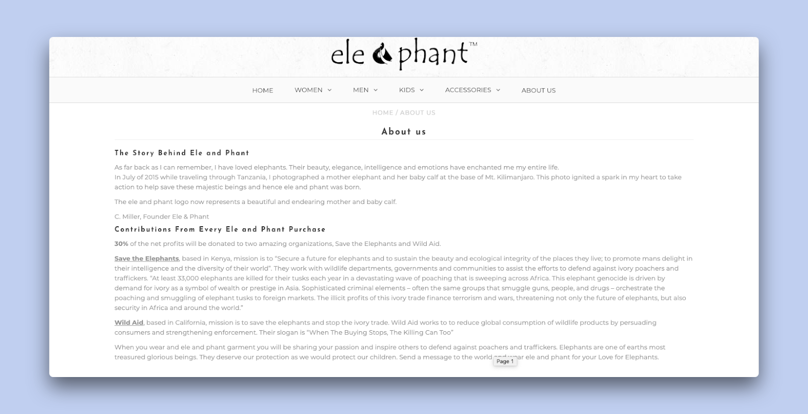 The About us page of the clothing store ele and phant which contributes to the welfare of elephants