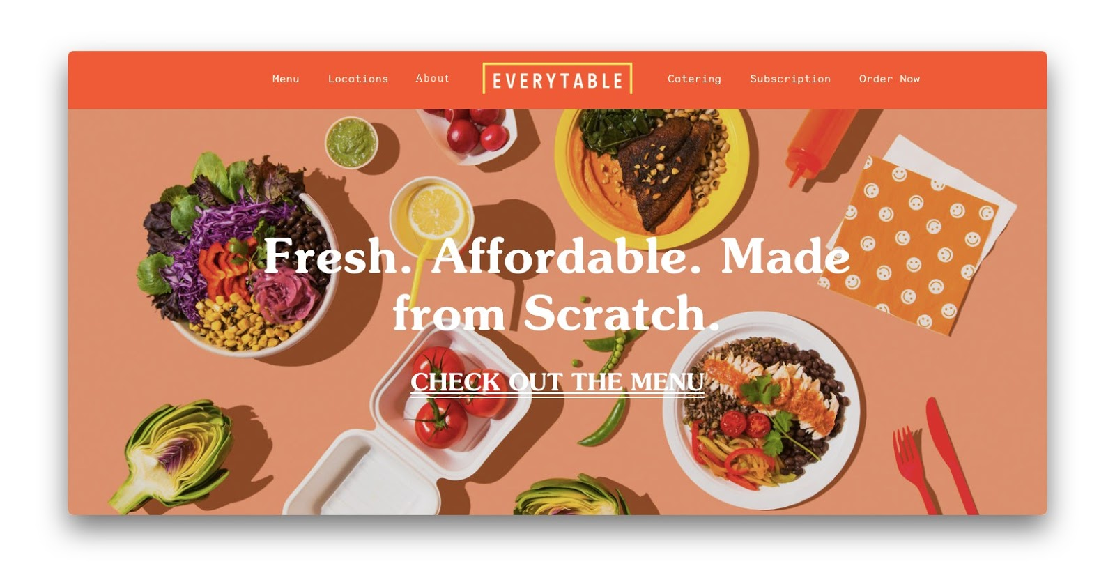 The landing page for Everytable which highlights their core product