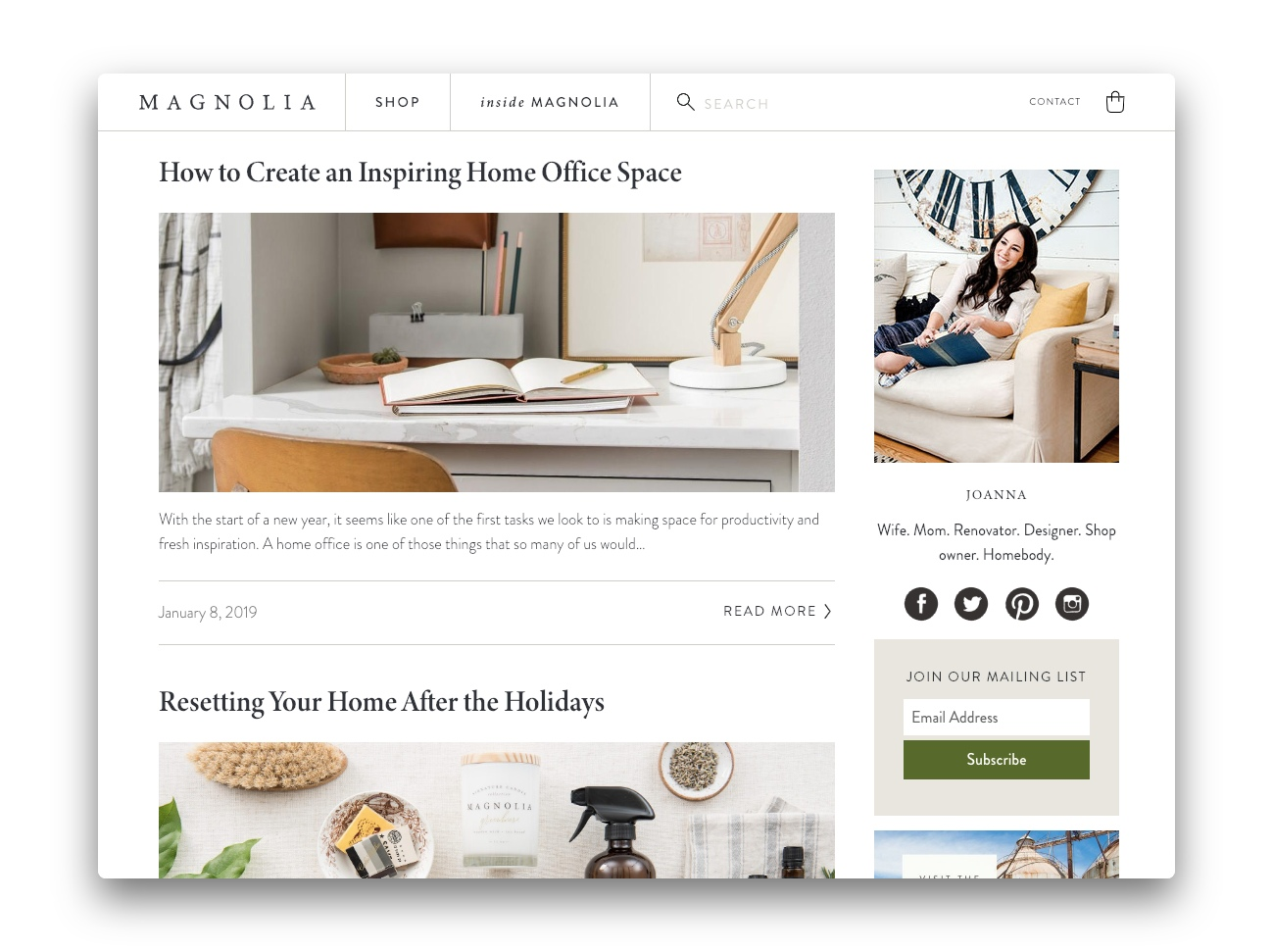 The Magnolia Market Blog showing two articles above the fold