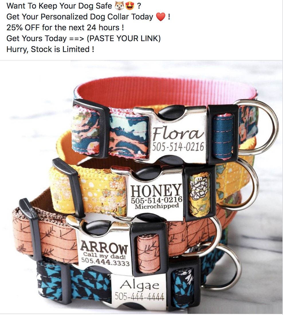 Facebook ad for personalized dog collar