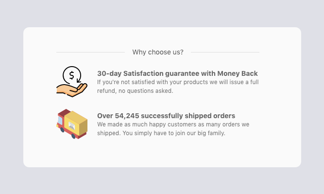 Why choose us section at checkout page of ecommerce store