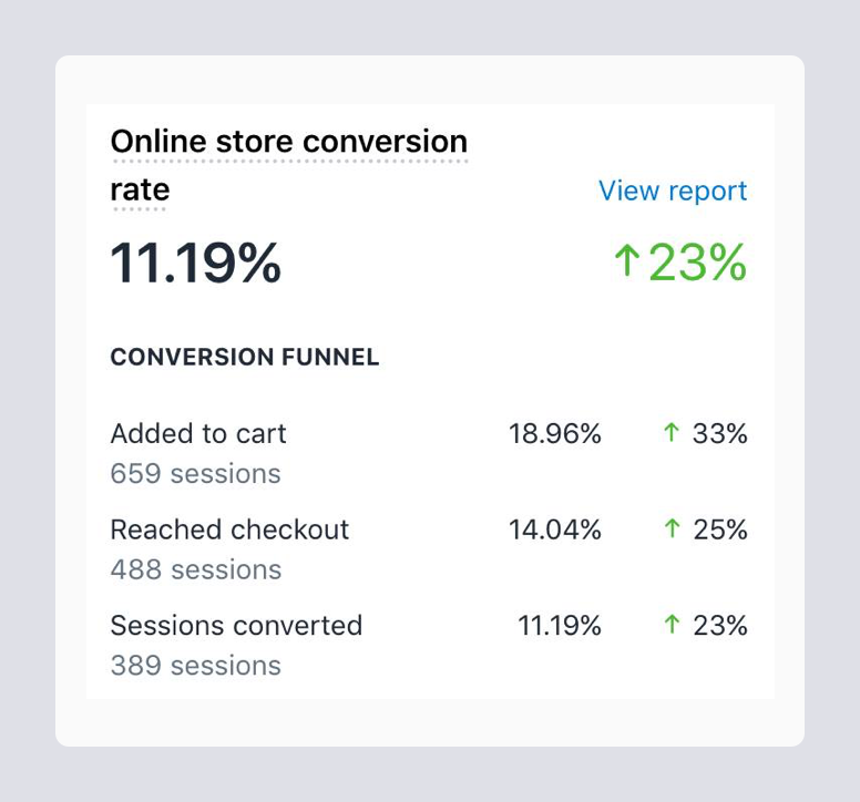 Report on performance of online store on Shopify with 11.19% conversion rates