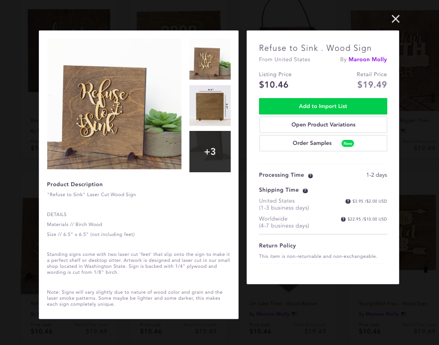 Spocket search page pop-up for the wooden sign 'Refuse to sink'