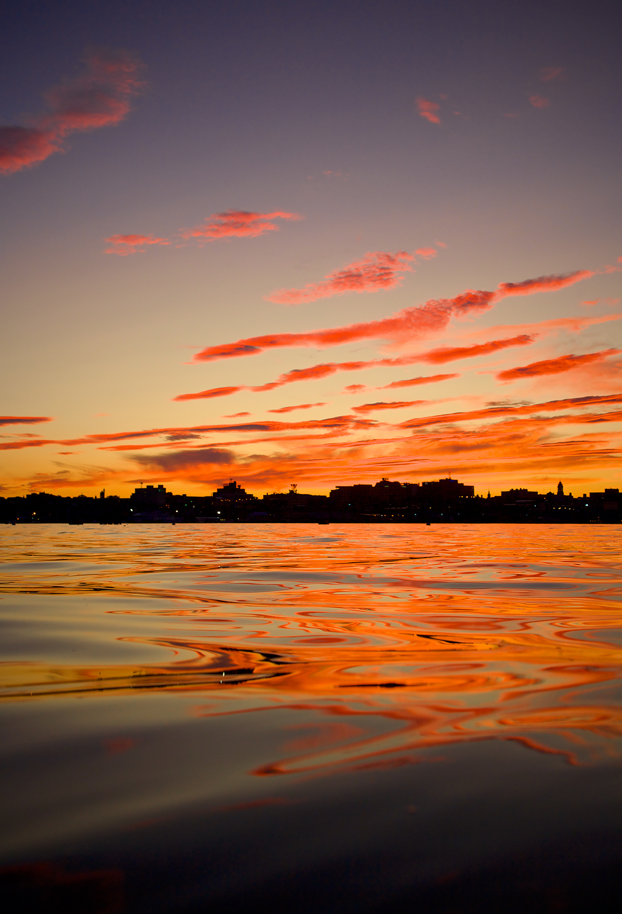 Dramatic sunset over Portland, Maine.