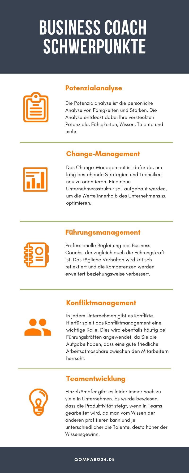 Infografik zum Thema Business Coach Schwerpunkte