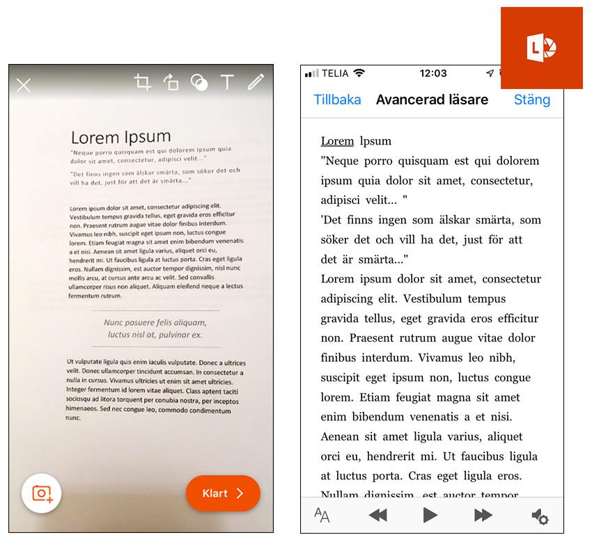 Scanna text med Avancerad läsare i Office Lens
