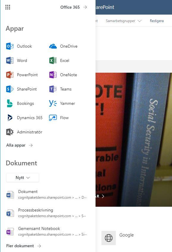 Klicka på länken Office 365 uppe till höger i Appfönstret