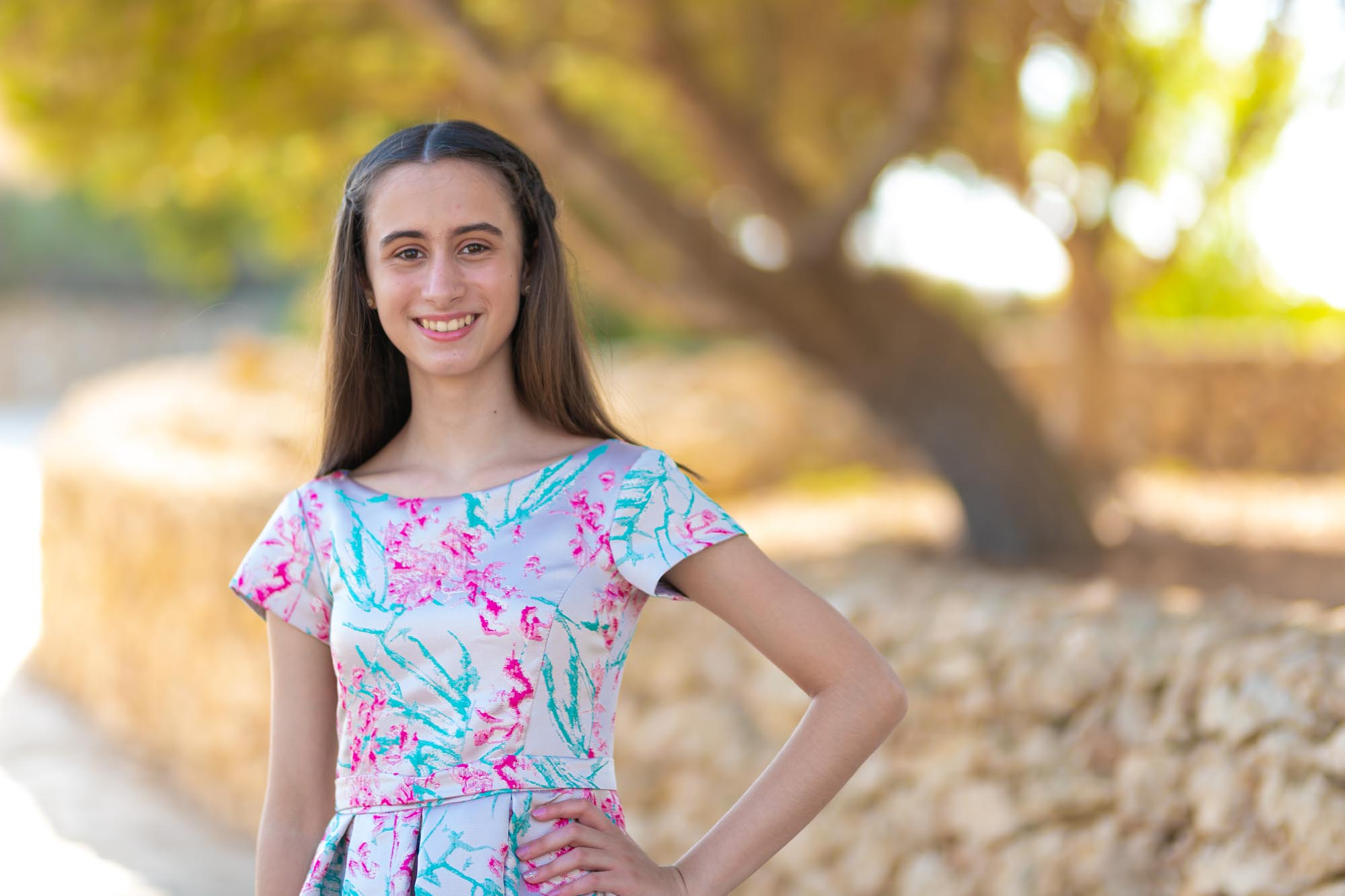 Confirmation day young lady smiling in Nadur - Gozo