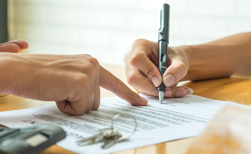 person signing document of a property caveat