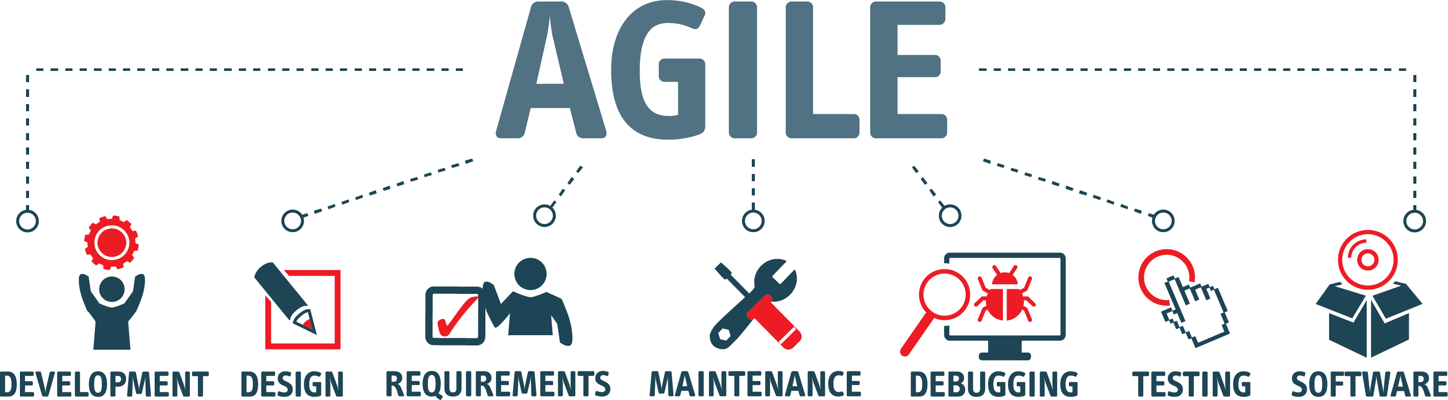 infographic for Agile Strategy for Release Management, Development design requirements maintenance debugging testing software
