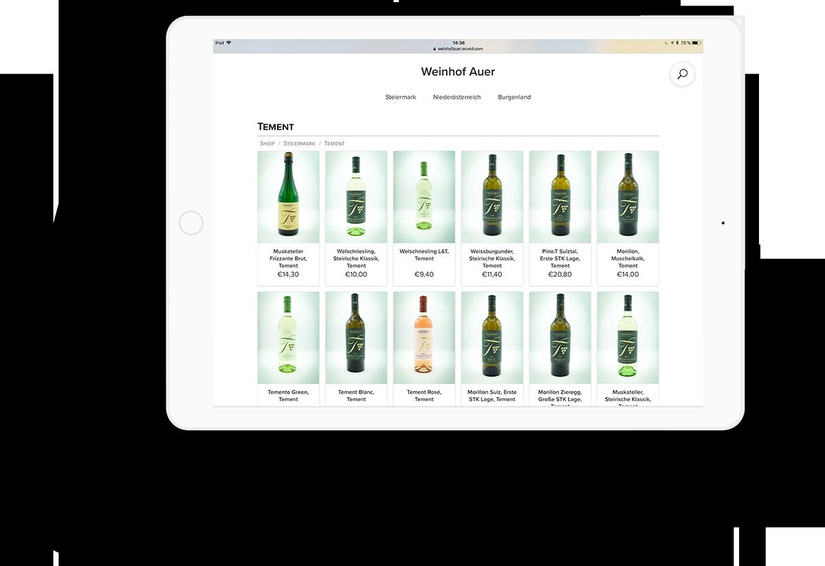 Screenshot Vorschau vom Onlineshop des Weinhof Auer