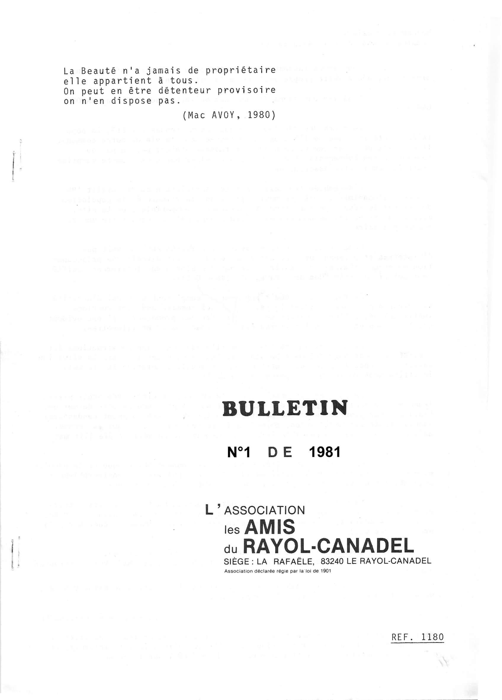 Lettre d'information N°1 de 1981