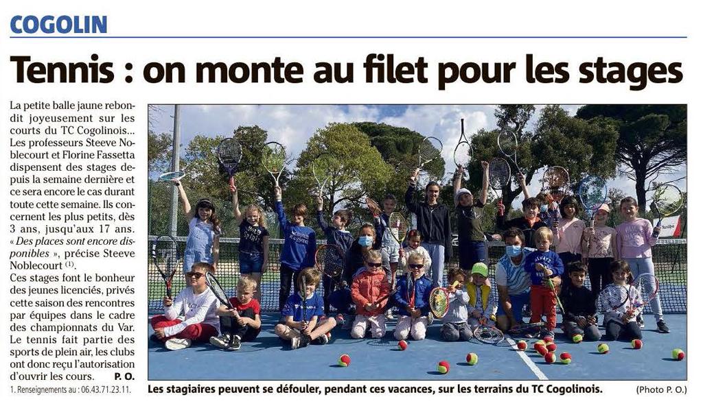 Tennis à Cogolin V.M du 19/04/2021