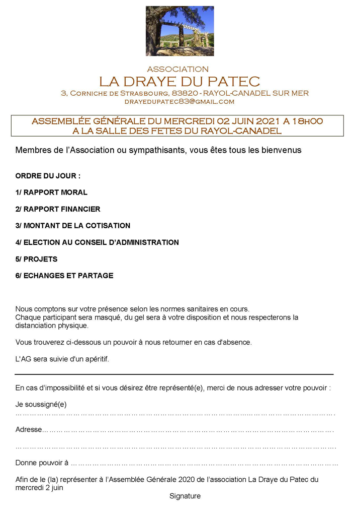 Convocation à la prochaine Assemblée Générale de la Draye du Patec.