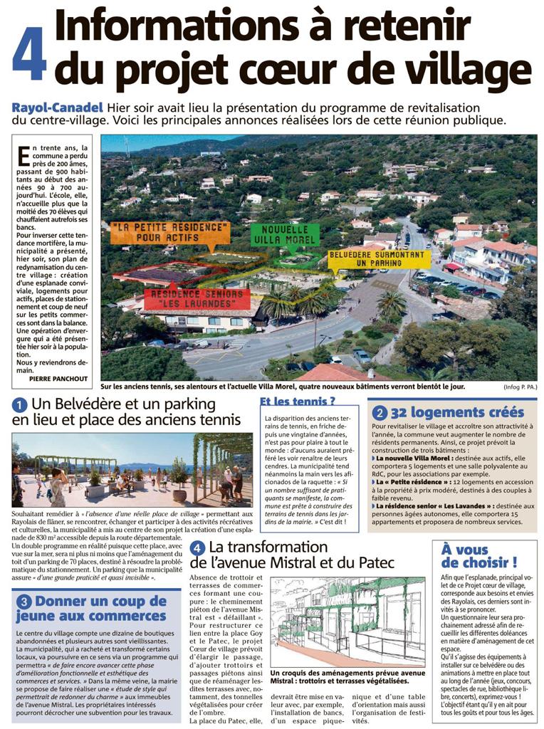 Réunion publique du 10/07/2021. Présentation du projet coeur de village par M. le Maire