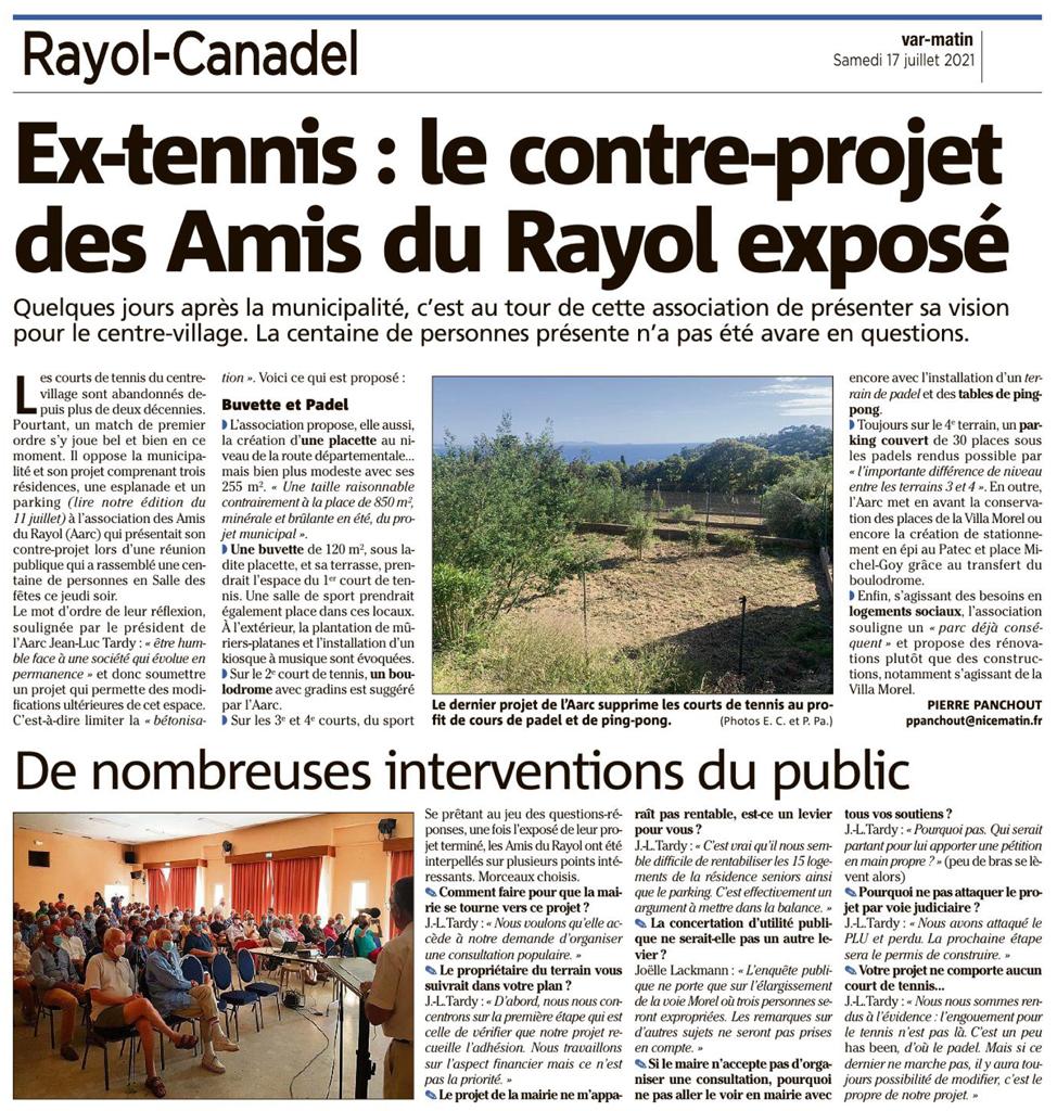 Réunion publique des Amis du Rayol-Canadel du 15/07/2021. Présentation de son projet sur les ex-tennis