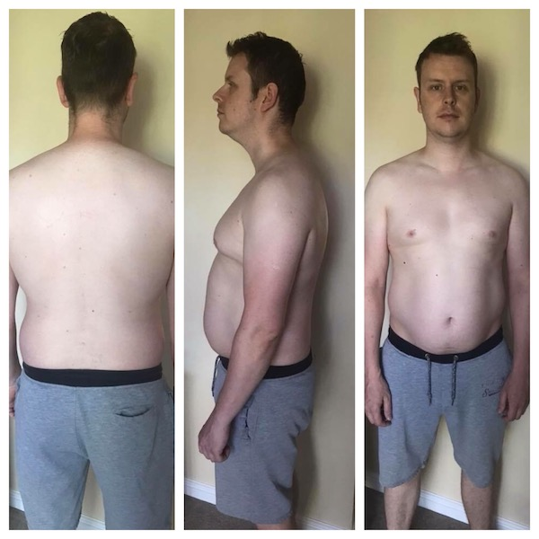 "three images of a man with no shirt showing his ""before"" body. Back profile, side profile and front profile."