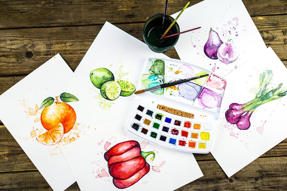 Rahel's Aquarelle von Gemüse und Früchten für unser Logo.