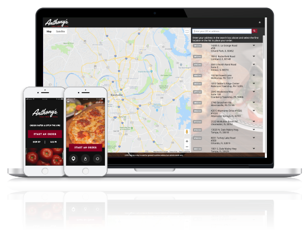 ToGoTechnologies Anthony's Coal Fired Pizza Apps and Website Image