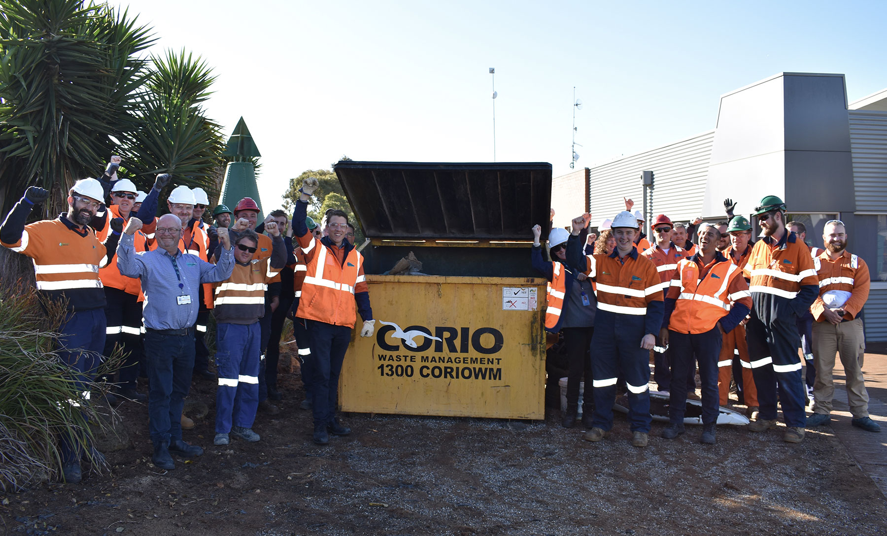 The Geelong port team after collecting waste
