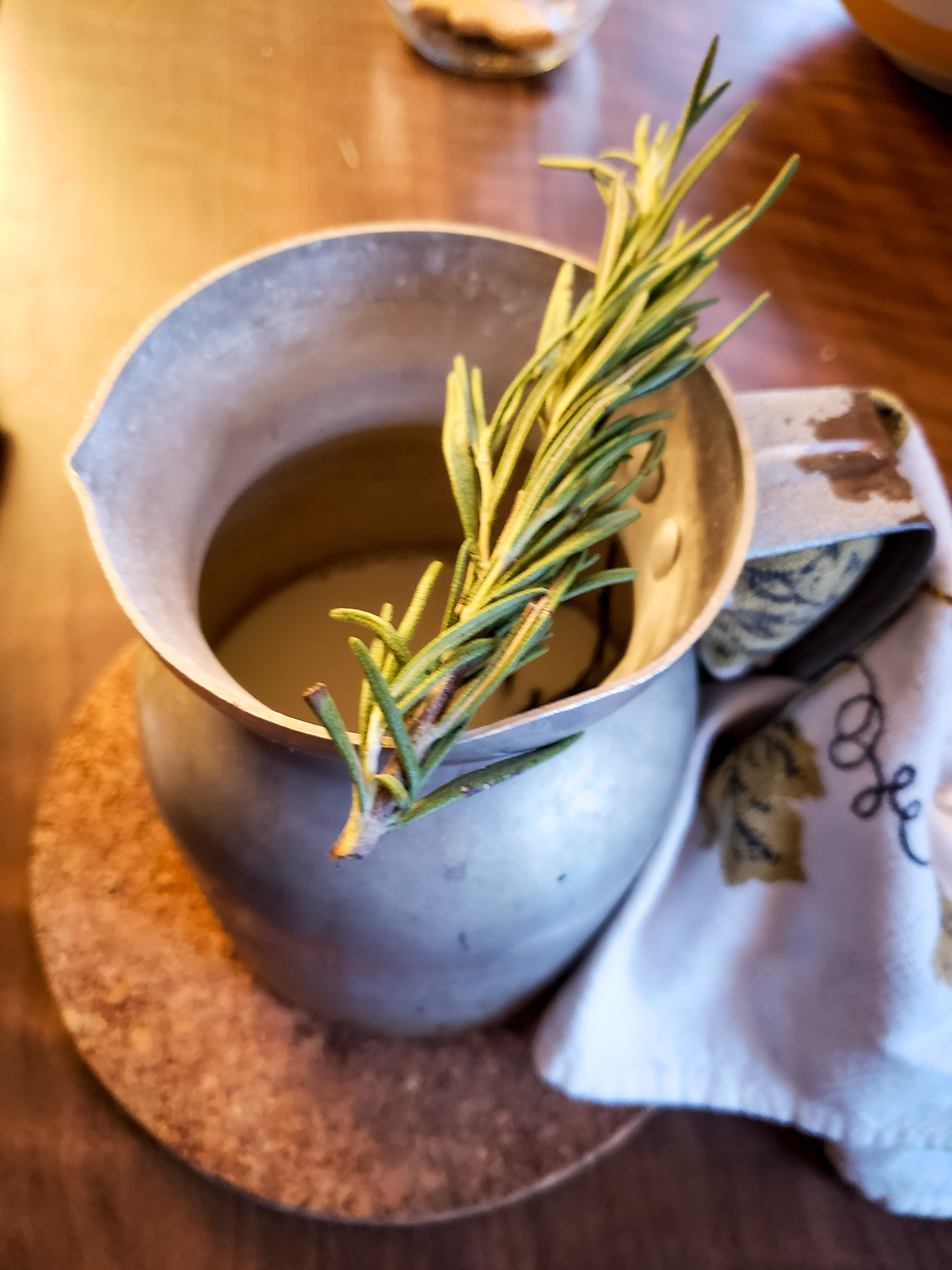 milk infused with rosemary