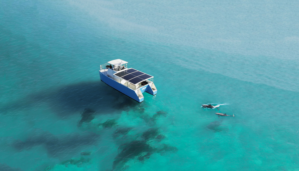 Dolphin Boat Goes Hybrid With BMW i3 Batteries + Sunflare Panels