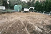 Peppertree Contracting preparing the ground levels for a round yard