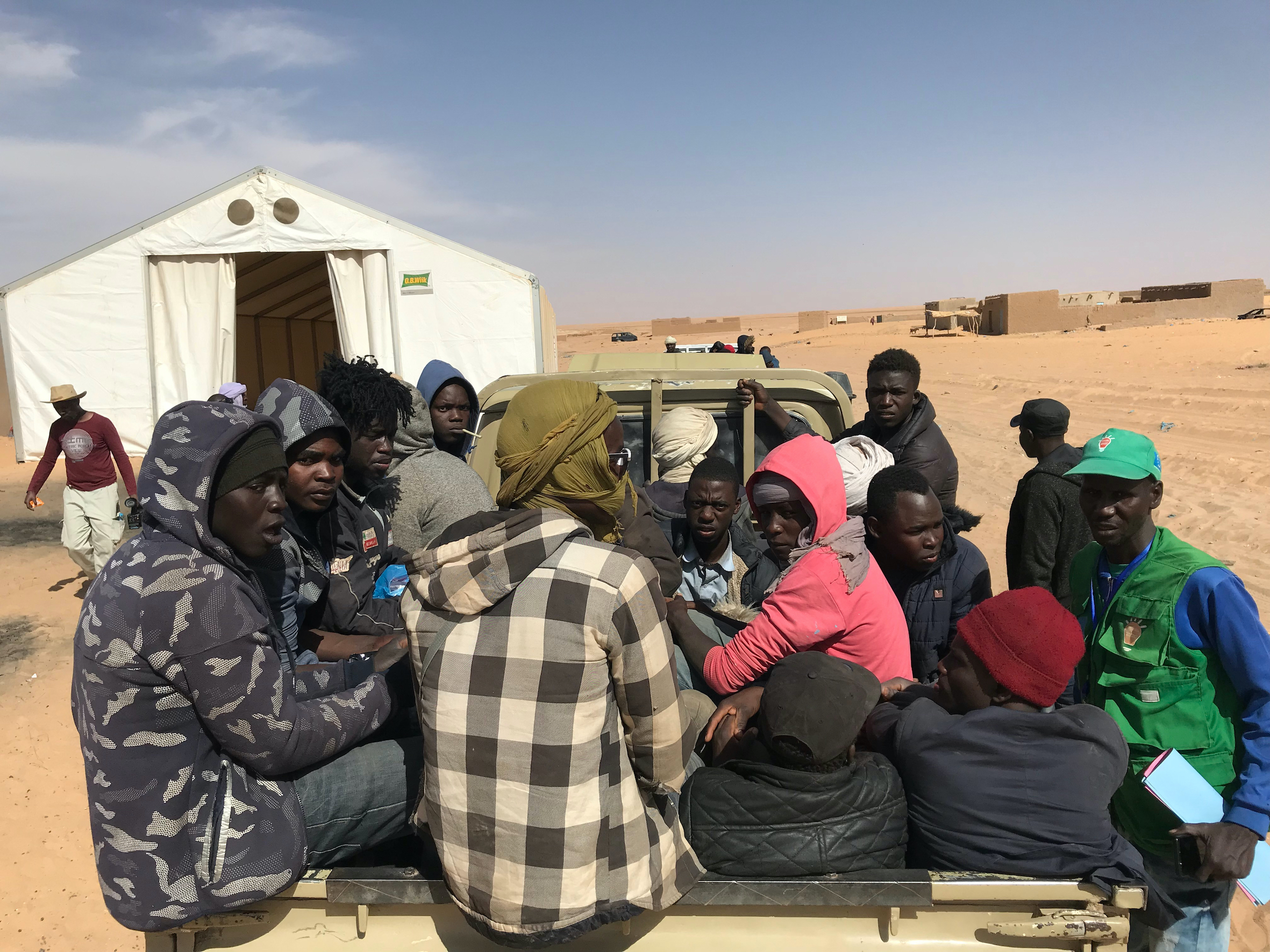 Assamaka, Niger 02-2019 Migrants forcefully arrested in Algeria, transported to the Nigerian border and left without support in the Sahara desert - here seen at IOM support center in Assamaka.