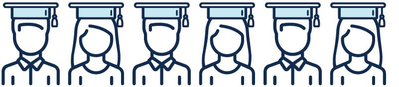 Illustration of graduates with hats