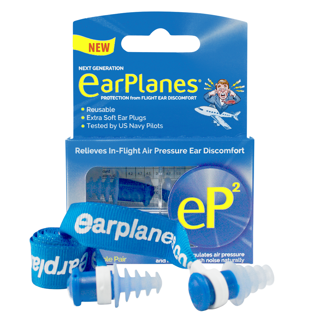 Front of EarPlanes EP2 Adult in-flight earplugs packaging with earplugs in a clear container in front