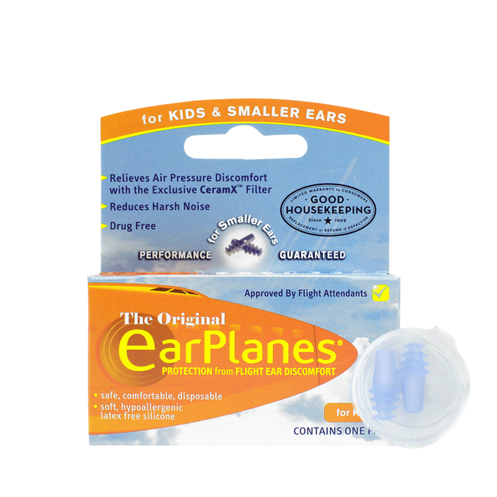 Front of EarPlanes Children in-flight earplugs packaging with earplugs in a clear container in front