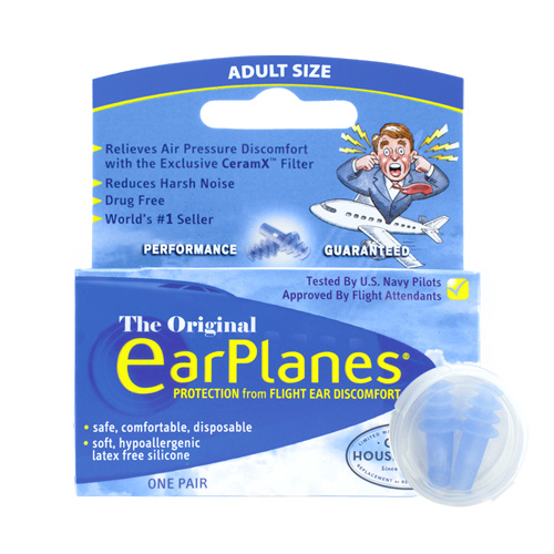 EarPlanes in-flight earplugs packaging with product in front