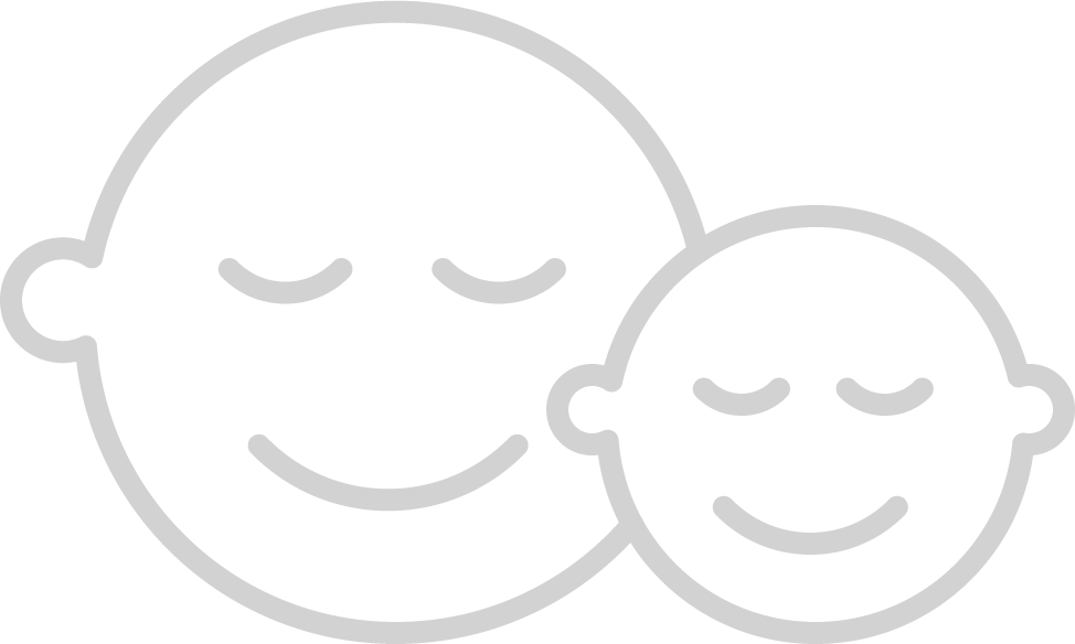 Outline of an adult and a child's face smiling