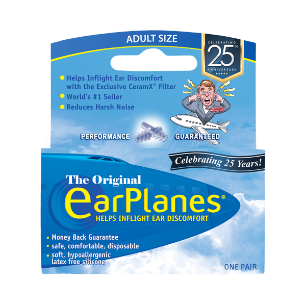 Front view of EarPlanes Adult in-flight earplugs packaging
