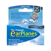 Front of EarPlanes Adult in-flight earplugs packaging