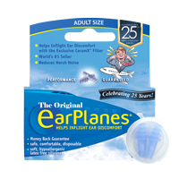 Front of EarPlanes Adult in-flight earplugs packaging with earplugs in a clear container in front