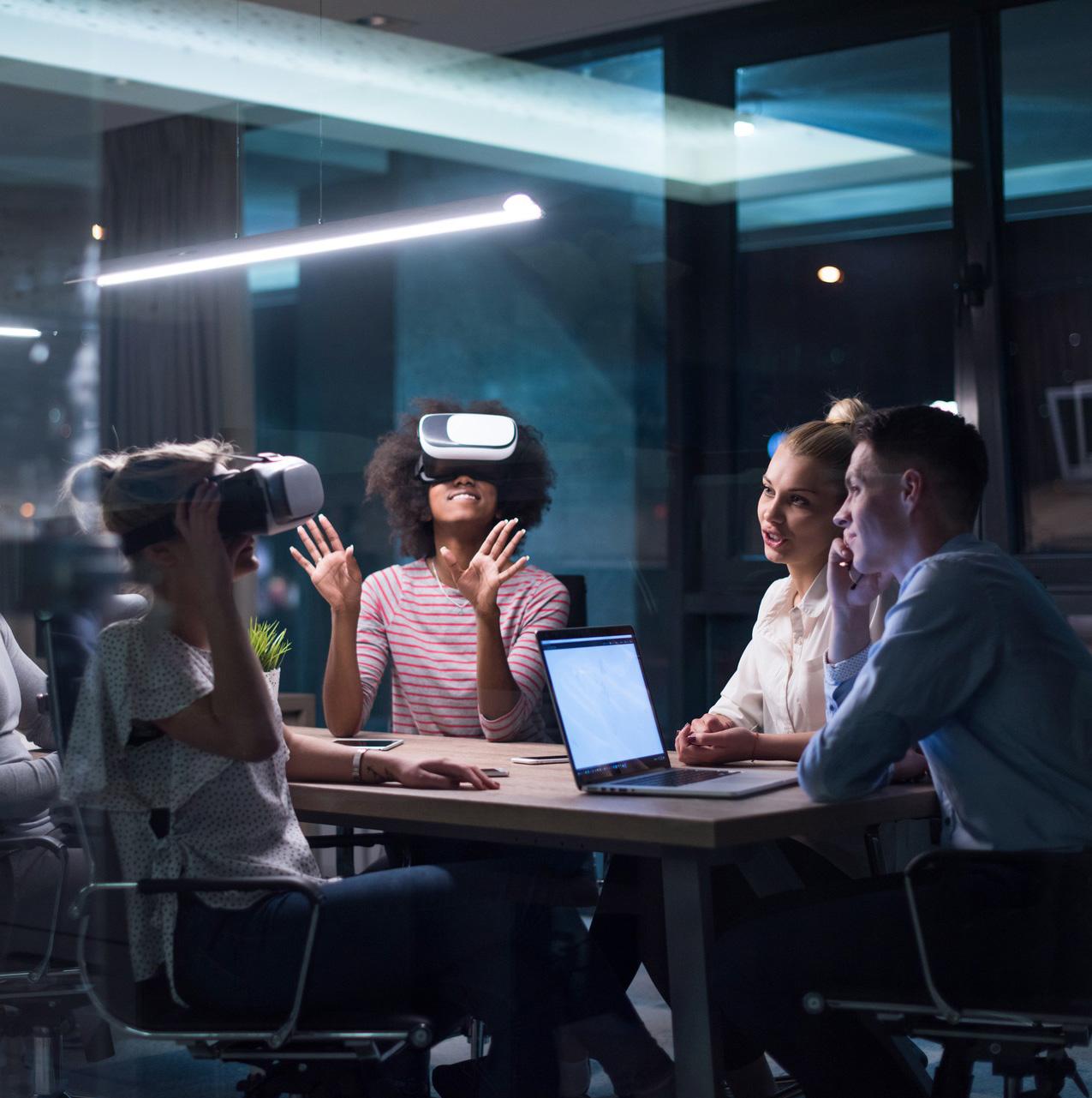 People enjoying VR