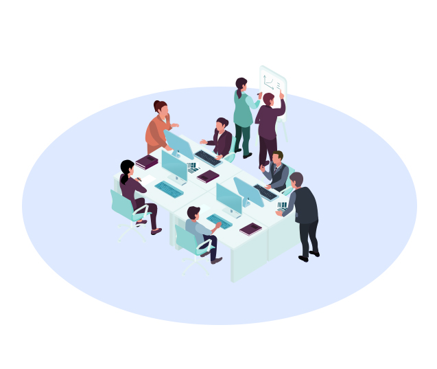 People at Desks Illustration