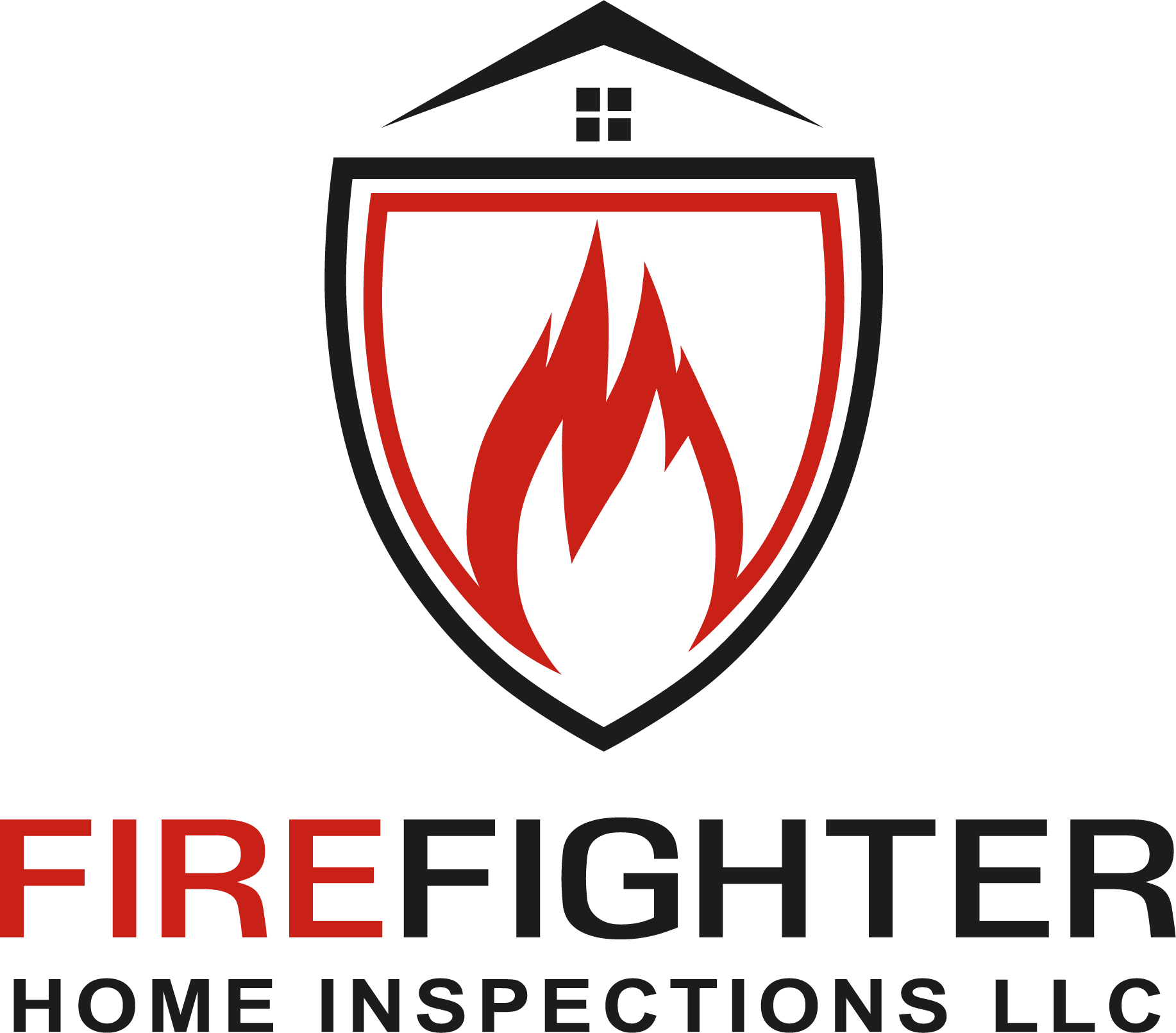 Firefighter home inspections logo red fire black shield