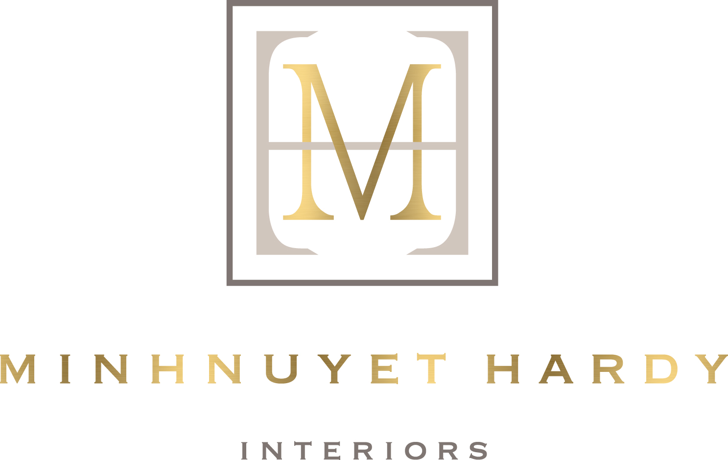 Minhnuyet Hardy Interiors logo gold and white