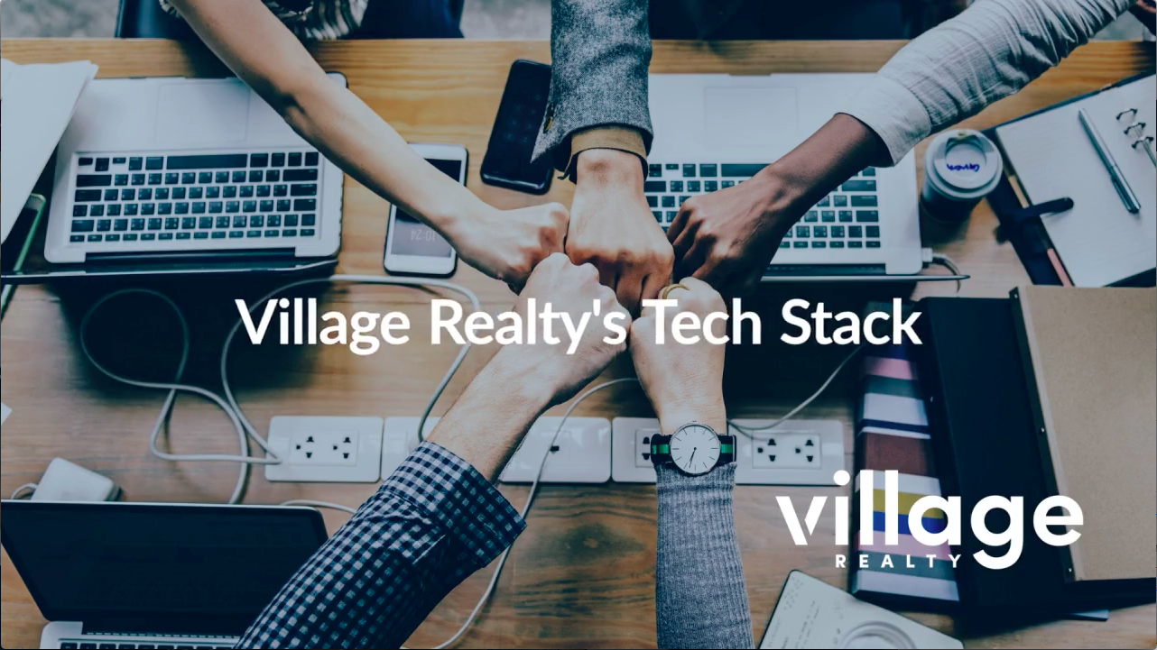 five hands fist bumping with Village Realty tech stack and logo