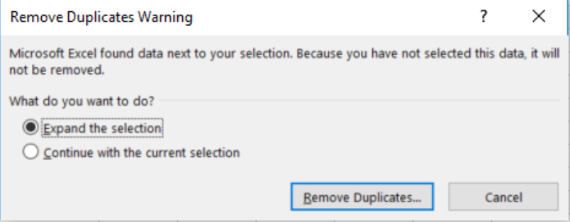 Remove duplicates warning in excel