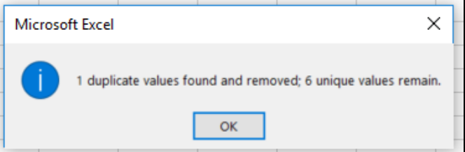 Confirmation popup for removing duplicates in excel