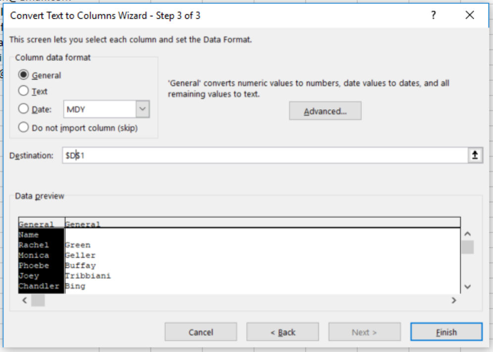 Step 3 of 3 in Text to Columns wizard in excel